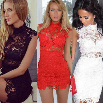 UK Sexy Women's Bandage Bodycon Lace Evening Party Cocktail Summer Mini Dress