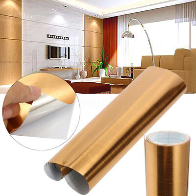 Metal Decoration Gold Brass DIY Brushed Contact Paper Wallpaper Car Sticker 2m