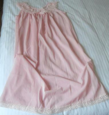 Vintage 1960's Ladies Pretty Pink Nylon Nightie Lace Trim Yoke Sw 34 Inch Bust