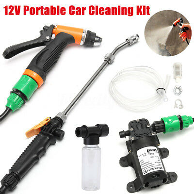 12V Portable Car Cleaning Kit High Pressure Washer Pump Gun + Mini Bubble Pot