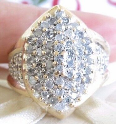 Enormous Beautiful Genuine 1.20ct Diamond Cocktail Ring 10K Solid Yellow Gold