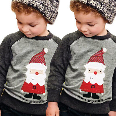 Kids Boys Knitted Santa Claus Merry Christmas Xmas Novelty Jumper Top Sweater