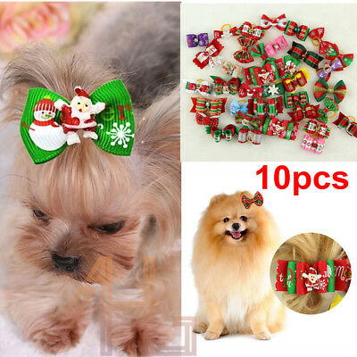 10X Christmas Pet Dog Hair Bows Rubber Bands Cat Puppy Grooming Hair Accessories