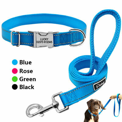 Reflective Personalised Dog Collars and Leads Engraved Dog Name Tag Medium Large