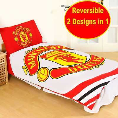 MANCHESTER UNITED Official Football Single Duvet Quilt Cover Set Boys Man Utd U