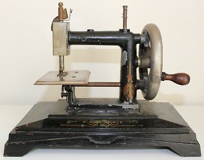 Antique French 'baby' Sewing Machine | Wooden Turning Handle | 'rw Jc Lp Paris'