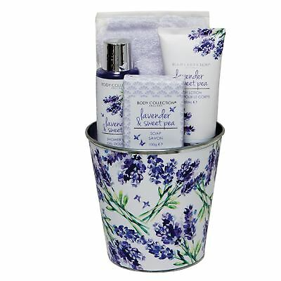 Body Collection Lavender & Sweet Pea Pamper Pot Shower Bath Gift Set Christmas