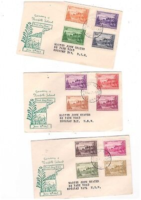 Norfolk Island 1947 Ball Bay FDCs            ( 3 Covers )
