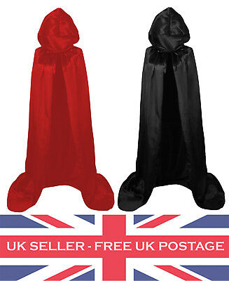 Halloween Fancy Dress Hood Hooded Cape Cloak Red Black Costume Vampire Dracula