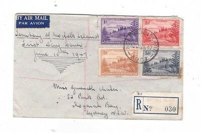 Norfolk Island 1947 Ball Bay Registered FDC
