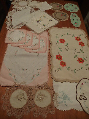 20 Mixed Sizes ~~Vintage Doilies~~Embroided / Crochet Edges