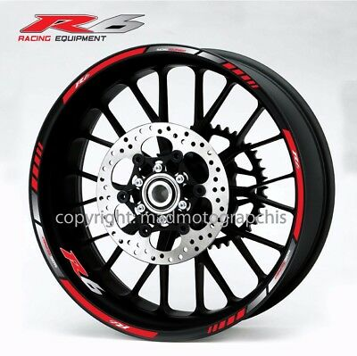 Yamaha YZF-R6 motorcycle wheel decals stickers rim stripes Laminated yzf r6 red