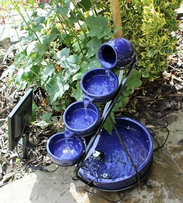 Solar Cascade Water Feature in Blue with LED Light and Battery Garden