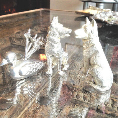 Silver Plated Duck Cocktail Sticks and Dog Table Ornaments, Good Condition