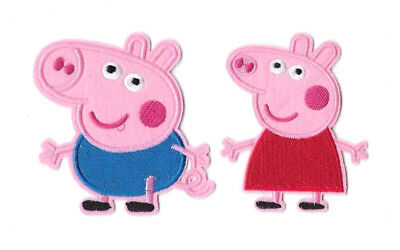 PEPPA PIG & GEORGE IRON ON / SEW ON 2-PIECE PATCH SET Embroidered Badge PS5