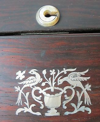 Antique WALNUT WRITING DESK w/ MOTHER OF PEARL INLAY
