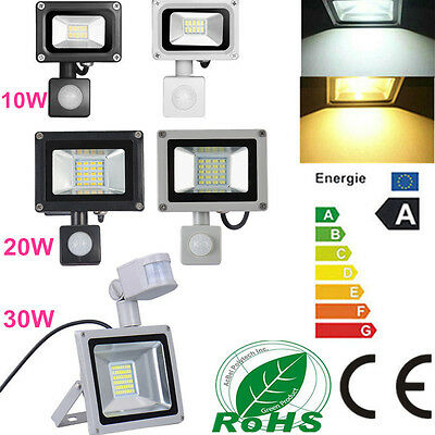 10W 20W 30W LED PIR Motion Sensor Floodlight Cool/Warm White Garden Outdoor Lamp