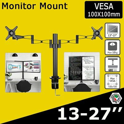 Dual HD LED monitor stand 2 arm holds two LCD screen TV desk mount bracket flat