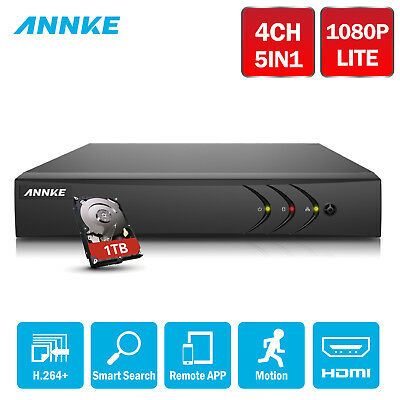 SANNCE 4CH 1080N 5IN1 HD DVR CCTV Home Security HDMI VGA Remote DN41Q + 1TB HDD