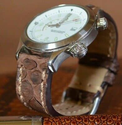 Correa Reloj 22 20 18 Mm Genuina Python Belly Vintage Marron Ii Ma Strap Band