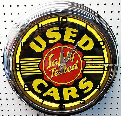 "17"" Safety Tested USED CARS Sign Neon Clock"