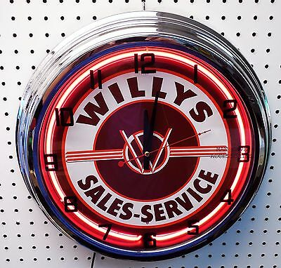 "17"" WILLYS Sales & Service Sign Single Neon Clock"