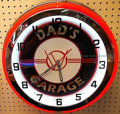 "18"" Dads WILLYS Garage Sign Double Neon Clock"