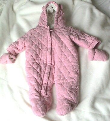 NEXT BABY GIRL FIRST SIZE up to 1 month PADDED  PINK  SNOW SUIT + MITTENS