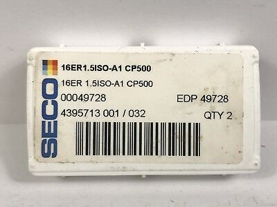 SECO 16ER 1.5 ISO -A1 New Carbide Inserts EDP 49728 Grade CP500 2pcs K