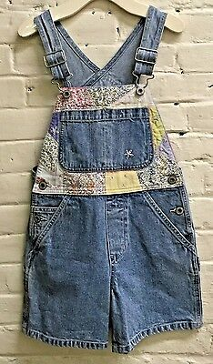 Vintage girl Gap S L shortalls overalls denim quilt EUC