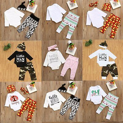 Xmas Kids Baby Boy Girl Long Sleeve Cotton Romper Tops+Pants Outfits Clothes Lot