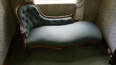 Antique Victorian Chaise lounge, Mahogany with green fabric
