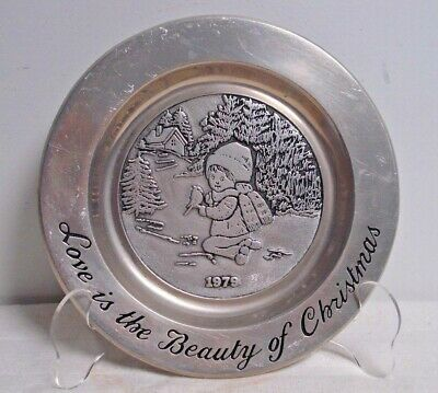Vtg Wilton Columbia PA Pewter love is the beauty of christmas 1979 Made in USA
