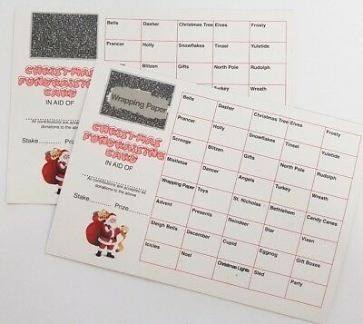 5  Fundraising Scratch Cards Christmas Theme 40 Spaces Christmas Party Game
