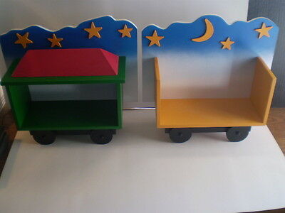 2 Wall Hanging Train Book Shelves.