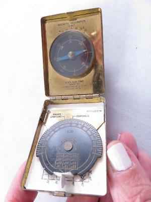 Htf Vintage Boyd Sun Time Pocket Sundial Compass Brass Cased