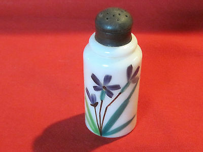 Victorian hand painted milk glass shaker muffineer with violets