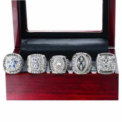 1971 1977 1992 1993 1995 Dallas Cowboys CHAMPIONSHIP RINGS with wood box