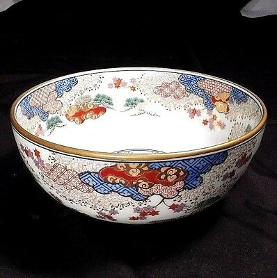 Large Porcelain Japanese Satsuma Bowl with Pattern Clouds Signed Gold Polychrome