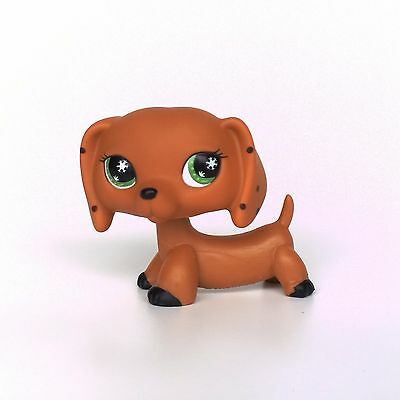 Littlest Pet Shop dog LPS DACHSHUND toys Monopoly Snowflake Eyes no magnet
