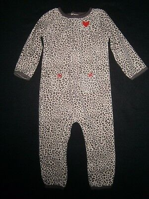 CARTER'S * 18 Months Baby Girl FLEECE ROMPER OUTFIT Clothes CHEETAH PRINT Hearts