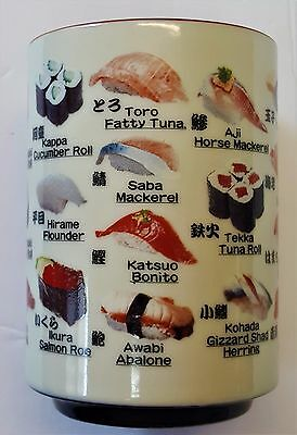 SUSHI Japanese Tea Cup 8 oz. Decorated With Various Sushi Pics Free Shipping