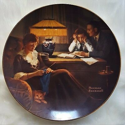 """NORMAN ROCKWELL Edwin M. Knowles """"Father's Help"""" Collector's Plate Free Shipping"""