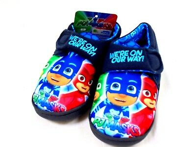 Boys New Pj Masks Touch Fastening Slippers Novelty House Shoes Size 4 - 10
