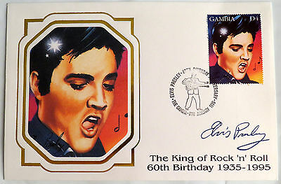 Elvis Presley Gambia 60Th Birthday Jailhouse Rock Portrait Stamp First Day Cover