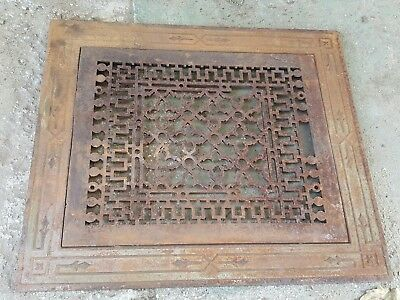 2 Piece Ornate Antique Cast Iron Register Grate -Architectural Heating Vent Top