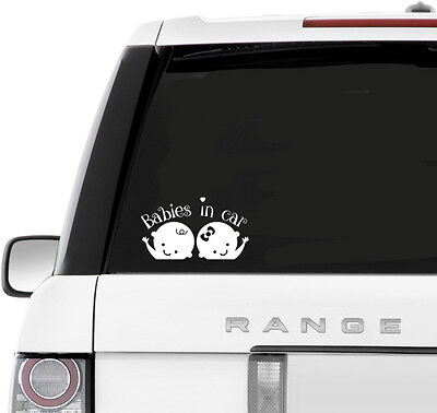 BABIES IN CAR Twins cute decal window sticker Van Suv Car Custom Vinyl kids