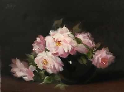 Barnes Oil Painting Pink Roses Vintage Antique Style Shabby Still Life Floral