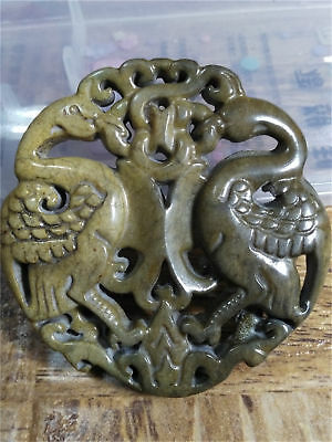 Old China Hand-carved jade belt buckle worn aristocratic art collection  a56
