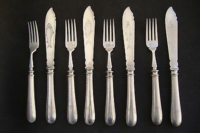 RARE Elkington 4Knives+4Forks,fish silver plate  FREE SHIPPING WORLDWIDE +